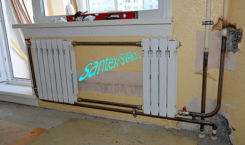 2 радиатора на 1 стояк : отопление угловой комнаты.