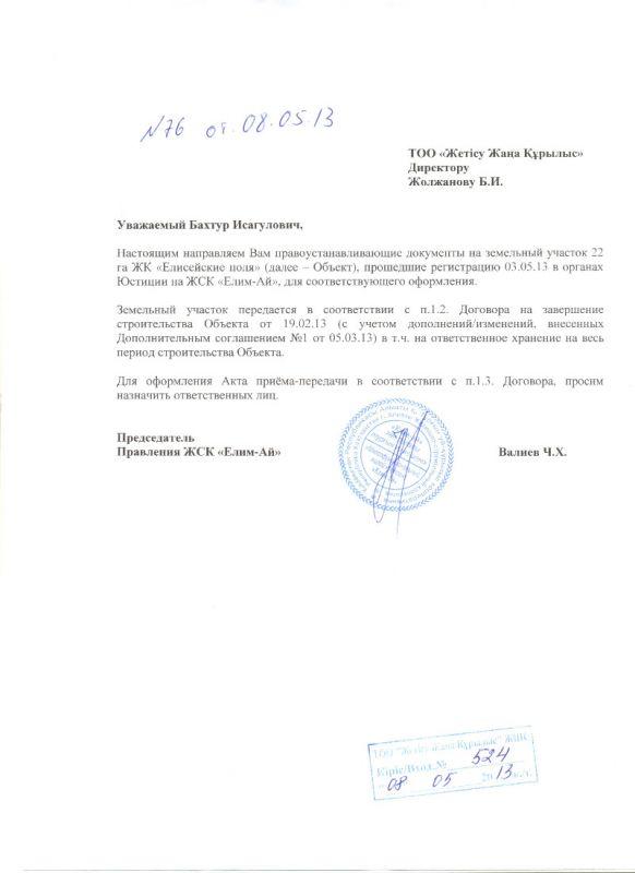 В ЖЖК по передачи гос акта 22 га