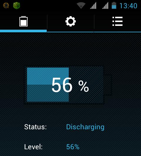 Screenshot Alcatel battery