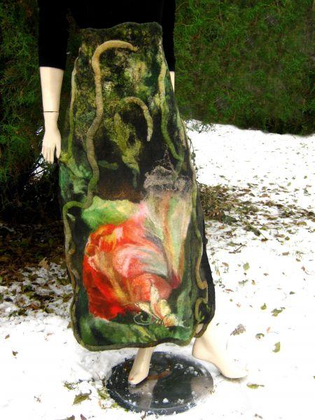 """Войлочный купон """"Как спят цветы"""" на перед юбки.  Живопись шерстяными волокнами."""