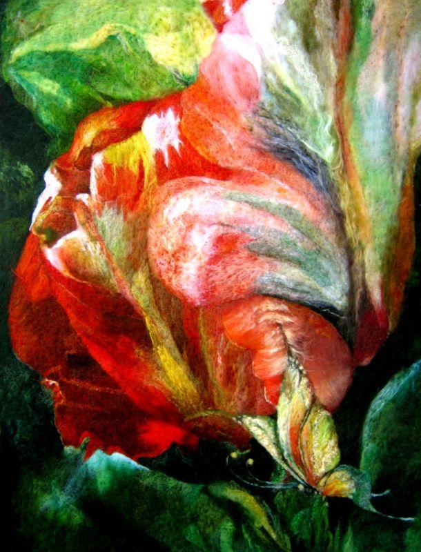 """Картина    из   шерсти   """"Ночная сказка"""".  Цветок фэнтези."""