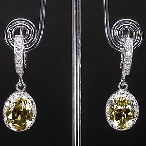 Цитрин бриллианты серебро серьги
