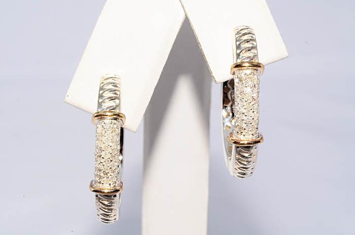 Бел желт бриллианты серьги