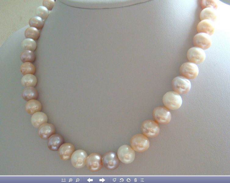 Нежнейшее ожерелье из белых, розовых и сиреневых натуральных жемчужин Южного моря