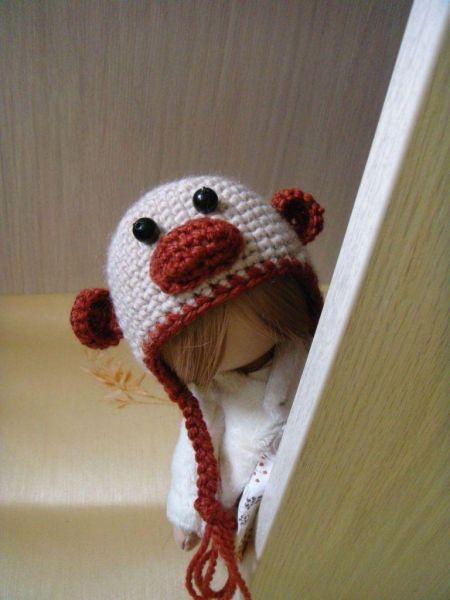 Шапочка обезьянка для куклы