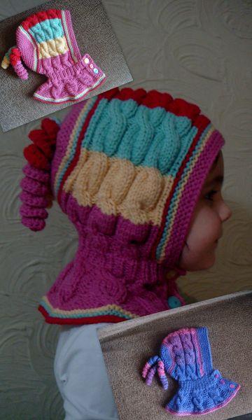Шапка-шлем с косами