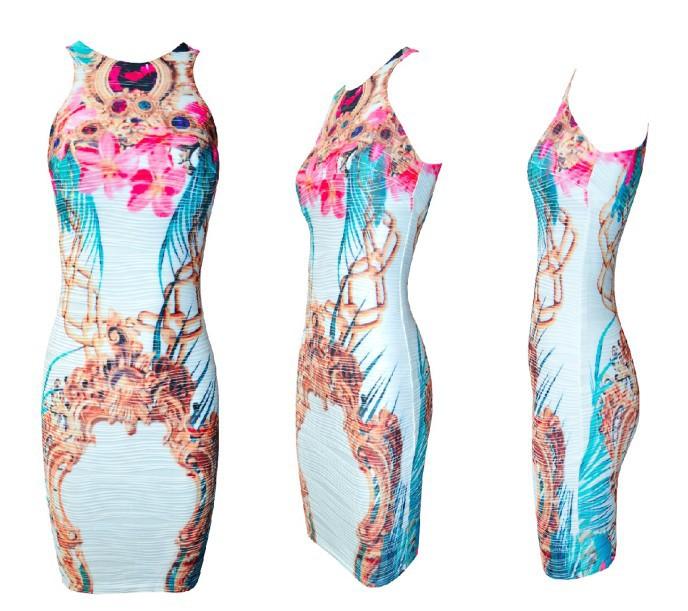 платье с принтом голубое  (1)