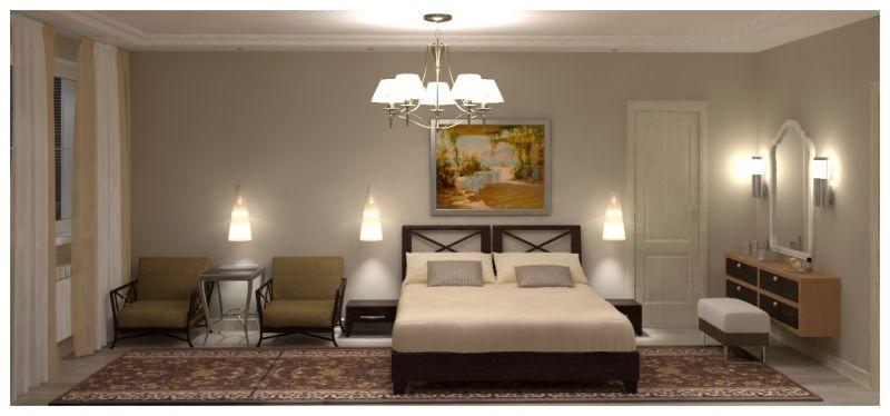 Основная спальня при искусственном освещении 03