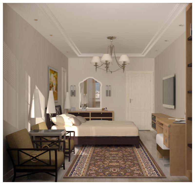 Основная спальня при естественном освещении 02