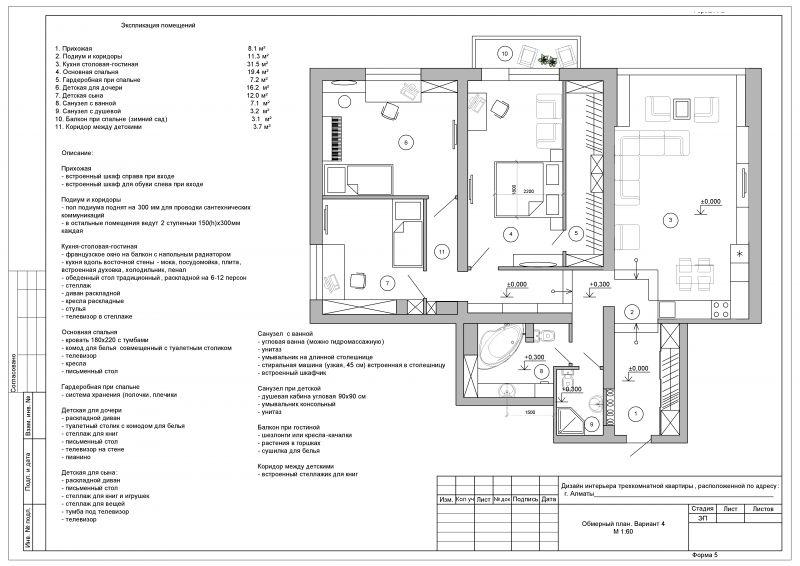 финальный план зонирования с L образной кухней