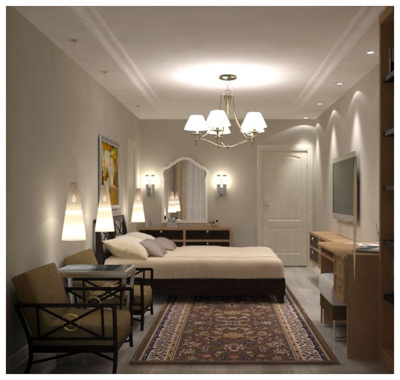 Основная спальня при искусственном освещении 02