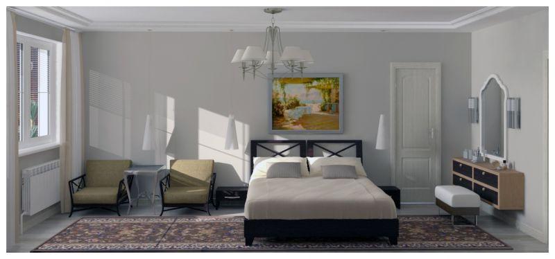 Основная спальня при естественном освещении 03