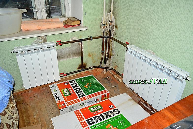 угловая комната   монтаж отопления на сварке