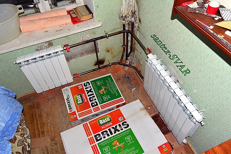 угловая комната - монтаж радиаторов отопления .
