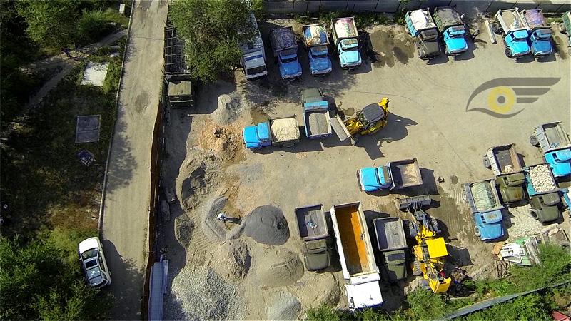 Рыскулова, базар сыпучих стройматериалов, надирный ракурс с высоты 40 м
