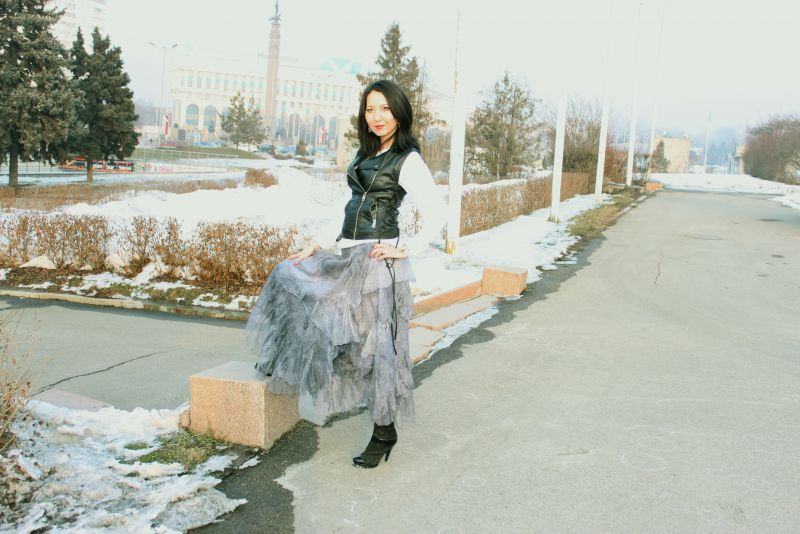 """Юбка серая бохо на запахе """"Антрацит"""" .  Алматы"""