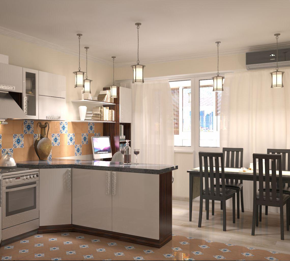 Кухня-столовая-кабинет