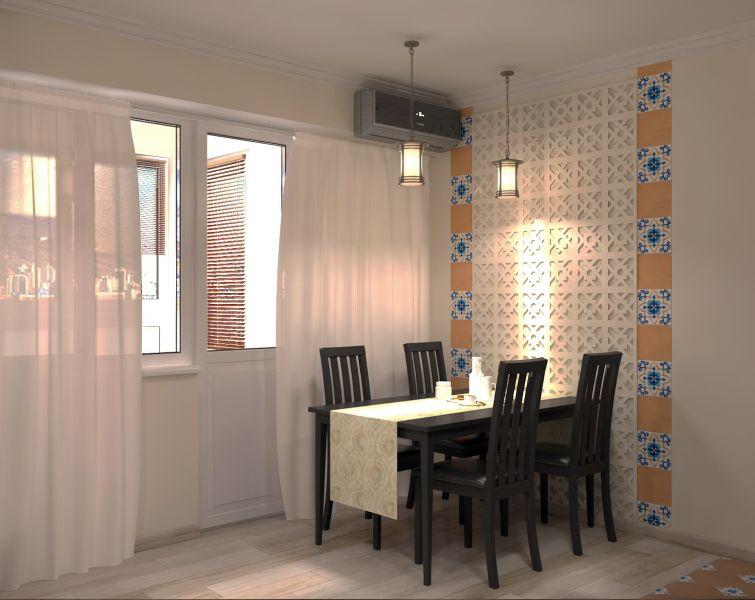 Прихожая гостиная кухня столовая кабинет балкон0060