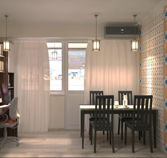Прихожая гостиная кухня столовая кабинет балкон0053