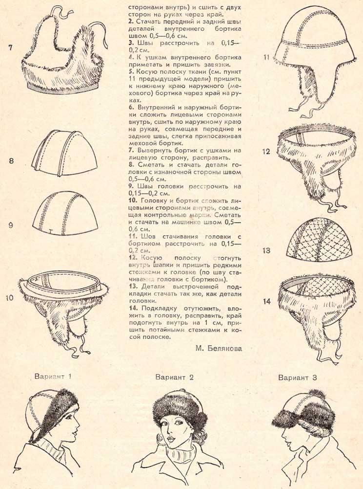 Женская шапка из искусственного меха выкройки