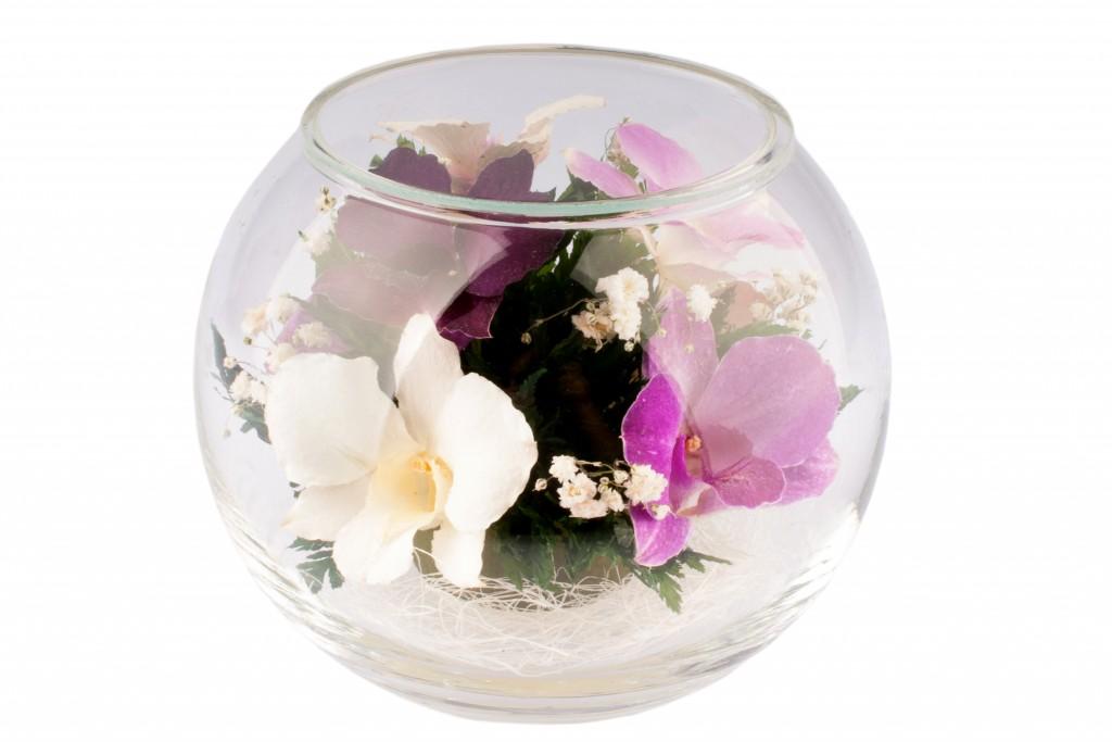 Купить цветы, композиции из искусственных цветов в круглых вазах
