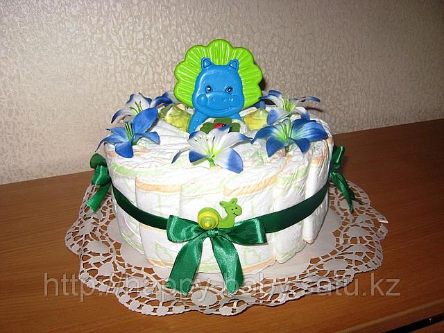 Торт из памперсов одноярусный своими руками пошагово фото