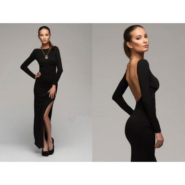 Черное платье с открытой спиной и длинными рукавами