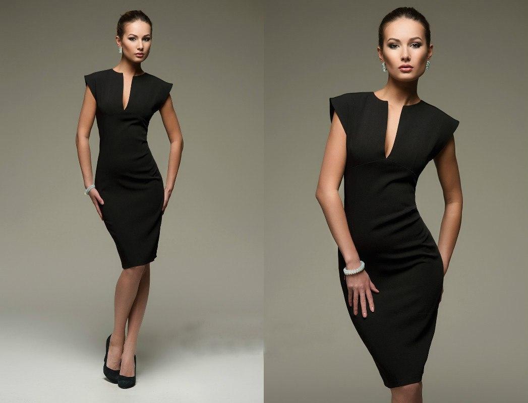 64Строгое платье для полных женщин