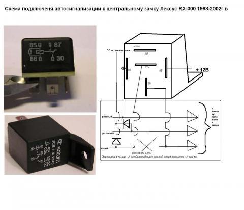Схема подключения сигнализации к центральному замку.JPG.