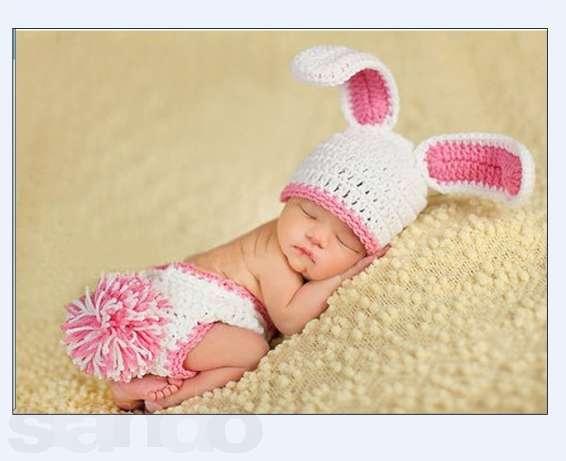 Шапочка зайка для новорожденного
