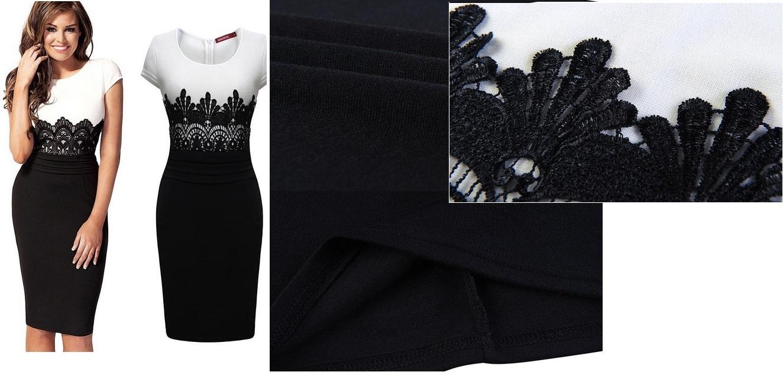 черно белое платье футляр фото